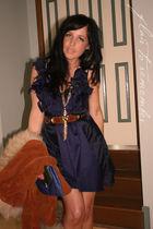 brown vintage coat - blue Harah Designs dress - blue vintage purse - brown vinta
