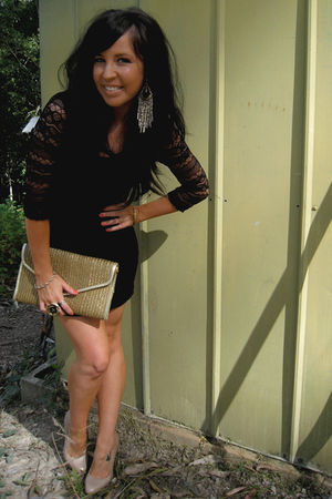 black St Frock dress - gold vintage purse - beige Basque MYER shoes - gold vinta