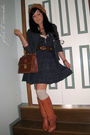 Blue-st-frock-dress-brown-vintage-boots-beige-dotti-socks-blue-vintage-bla