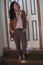 Brown-sisco-jacket-brown-sportsgirl-shoes-beige-vintage-blouse-green-temt-