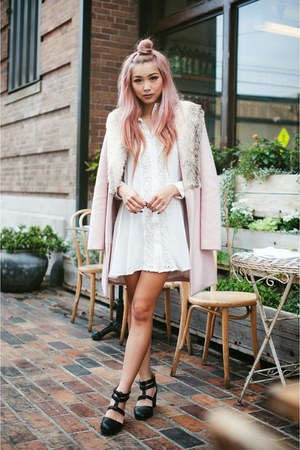 pink coat - white dress - black heels