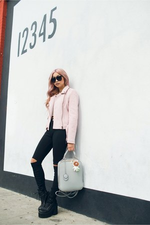 light pink jacket - black boots - black jeans - silver bag - white top