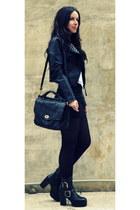black vintage boots - black vintage bag
