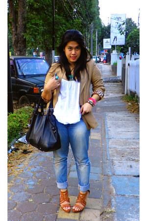 ripped jeans Zara jeans - Zara blazer - Zara heels - casio watch
