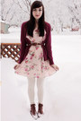 Brown-modcloth-boots-bubble-gum-miss-patina-dress-hot-pink-forever-21-cardig