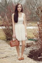 white stitched and adorned dress - tawny Chicwish bag