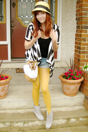 yellow tights - gray Aldo shoes - beige Forever 21 hat