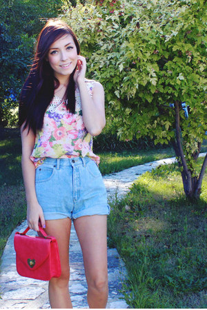 bubble gum Chicwish top - hot pink Forever 21 bag