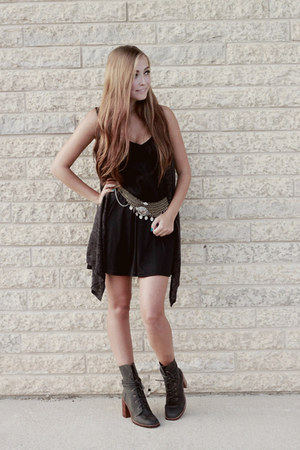 bronze free people belt - olive green Jeffery Campbell boots - black asos dress