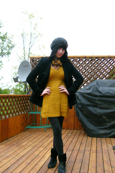 Buckle dress - thrifted accessories - Old Navy leggings - hat