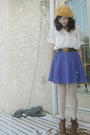 Purple-skirt-brown-shoes-brown-belt-white-seduction-blouse-gold-urban-ou