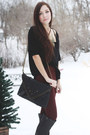 Black-lulus-boots-black-matt-nat-purse-maroon-romwe-pants