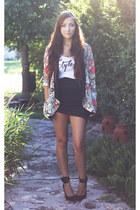 bubble gum romwe blazer - white style moca top - black style moca skirt