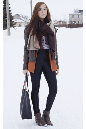 light brown Forever 21 boots - burnt orange Forever 21 blazer