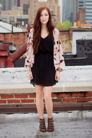 black Tobi dress - brown Modern Vice boots