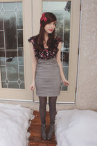 gray Forever 21 boots - red Sirens dress - heather gray urban behavior skirt