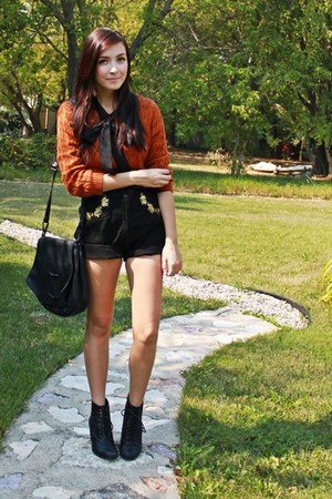 burnt orange Forever 21 sweater - black thrifted shorts