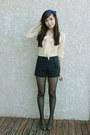 Navy-wwwromwecom-romwe-shorts-cream-blouse-dark-khaki-forever-21-heels