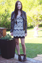 dark brown Modern Vice boots - ivory awwdore dress