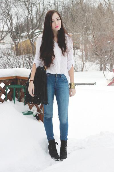 black romwe bag - sky blue Forever 21 jeans - white romwe blouse