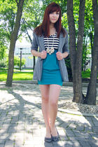 blue urban behavior skirt - gray urban behavior blazer