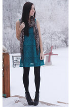 black romwe boots - teal stitched and adorned dress