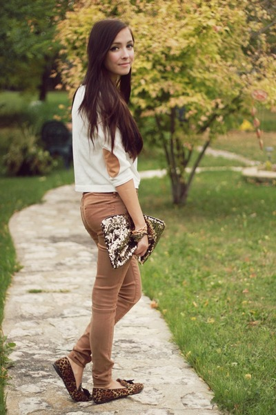 gold Oh my Frock bag - white Forever 21 sweater - tawny LuLus loafers