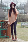 Brown-romwe-boots-light-pink-awwdore-sweater-black-american-apparel-pants