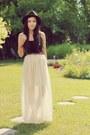 Dark-brown-forever-21-hat-black-garage-top-ivory-miss-patina-skirt