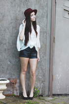 maroon Forever 21 hat - black Forever 21 shorts - ivory MIAMASVIN top