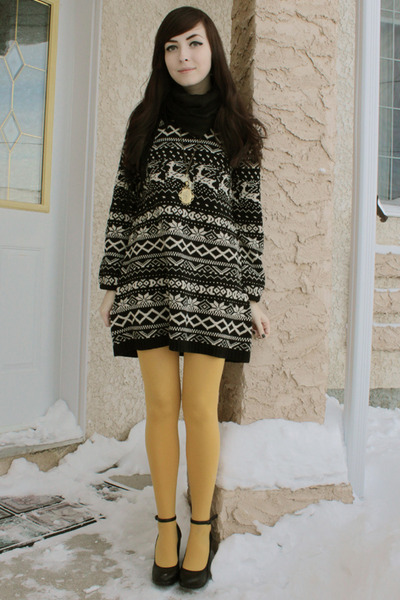 black wwwromwecom romwe dress - mustard Anthropologie tights - black Aldo wedges