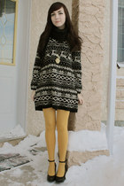 black wwwromwecom romwe dress - mustard Anthropologie tights - black Aldo wedges