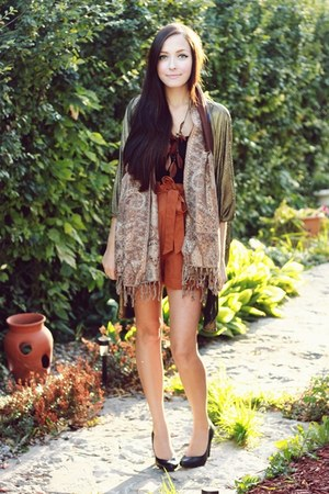 gold Sway cardigan - burnt orange romwe shorts