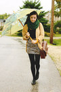Green-ardene-scarf-brown-romwe-bag-light-brown-wet-seal-skirt