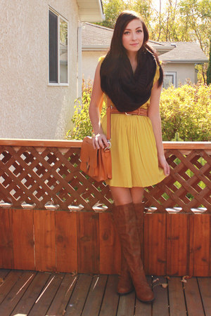 brown Nectar boots - yellow ClubCouture dress - orange romwe bag