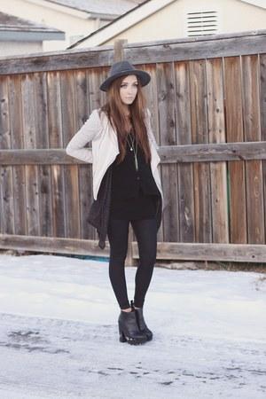 black Steve Madden boots - black Velvet Kimono top