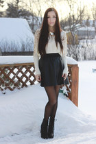 white awwdore sweater - black chicnova boots - black GoodNight Macaroon skirt