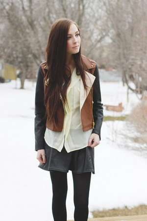 brown Forever 21 jacket - cream Chicwish blouse