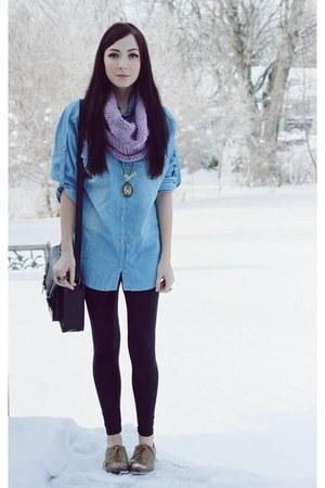 light purple romwe scarf - light blue romwe top