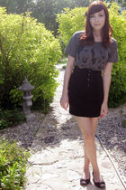 black Wet Seal skirt - gray Hot Topic shirt