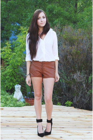 brown Forever 21 shorts - black Jeffrey Campbell pumps