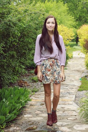light purple Chicwish blouse - bronze Forever 21 skirt