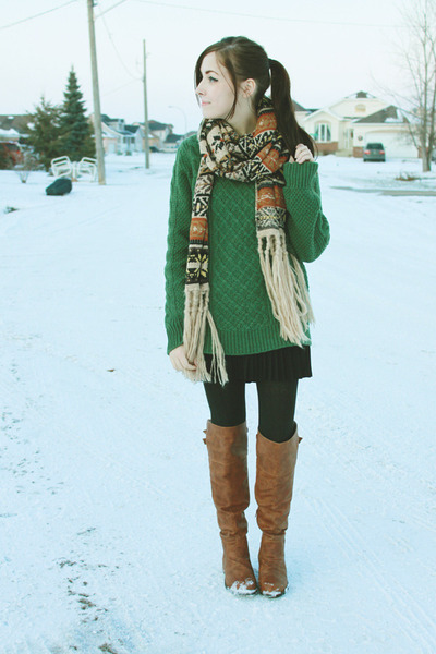 brown romwe scarf - brown nectar clothing boots - green romwe sweater