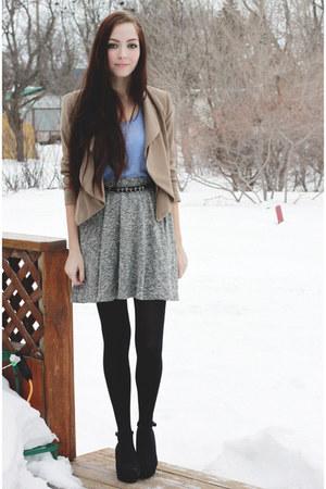 heather gray LuLus skirt - camel LuLus blazer - light blue Forever 21 t-shirt