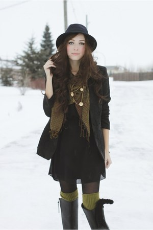 black Lulus boots - black Chicwish blazer - olive green tabbisocks socks