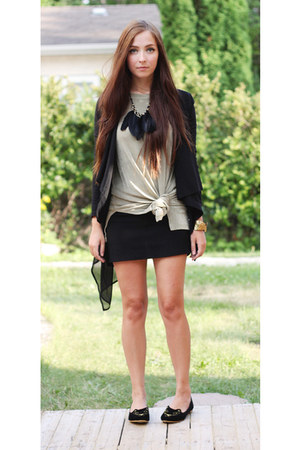 black romwe cardigan - black Chicwish flats