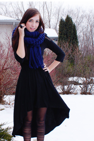 black windsor skirt - black romwe tights - navy Forever 21 scarf