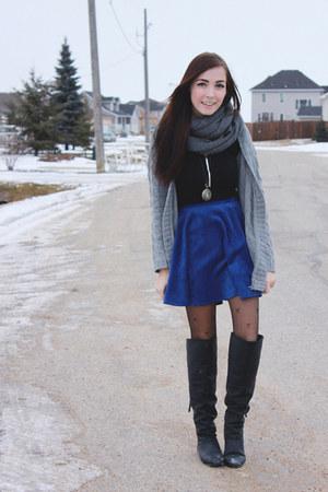 navy romwe skirt - heather gray girlfriends material scarf