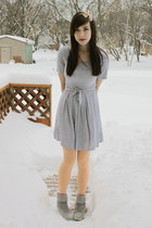 heather gray Spring boots - heather gray Forever 21 dress - peach We Love Colors
