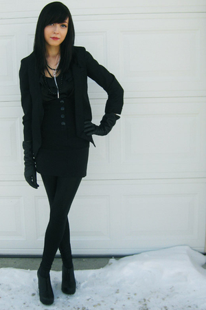 black Sirens blazer - black Jeffrey Campbell shoes - black urban behavior tights